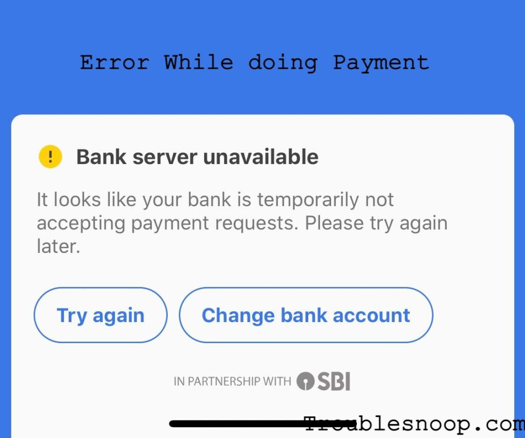 SBI UPI servers are down